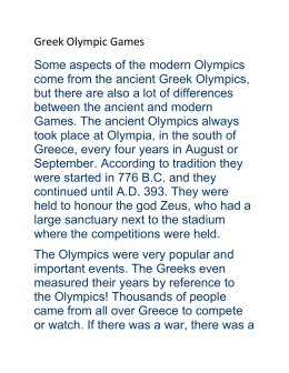 The Ancient Olympics: Prizes