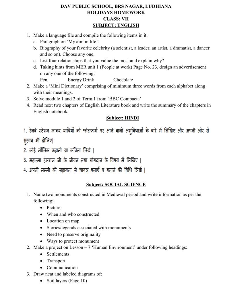 holidays homework of dav public school brs nagar