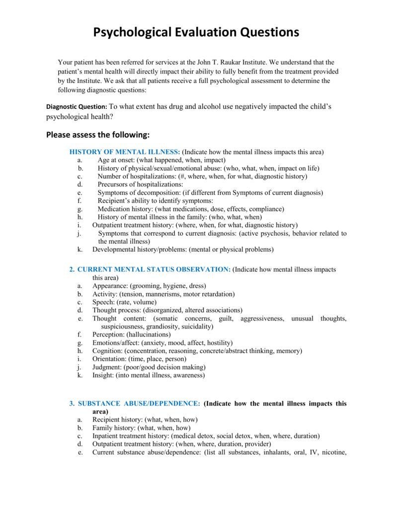 Psychological Evaluation | Psychological Evaluation Questions
