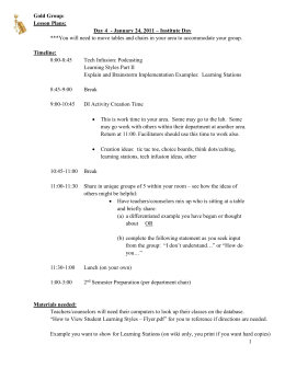 Gold Group: Lesson Plans: Day 4 - January 24, 2011 – Institute Day
