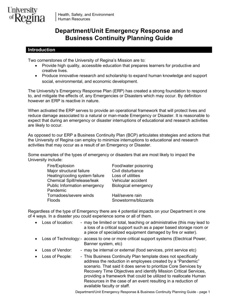 Faculty/Department/Unit Emergency Preparedness Plan