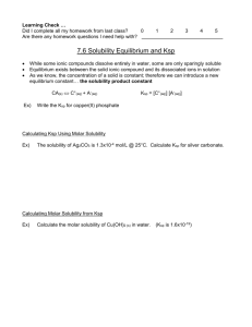 Experiment 29: Molar Solubility (Part A) and Common Ion Effect