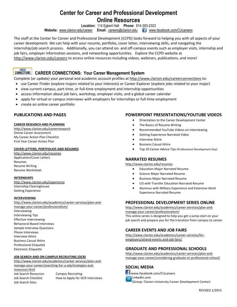 Quicklinks To Online Career Resources