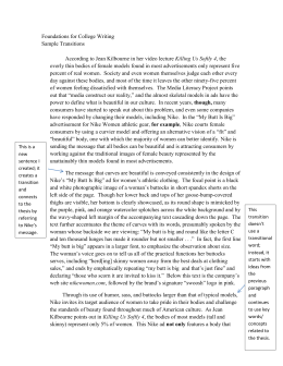 Foundations for College Writing Sample Transitions This is a new