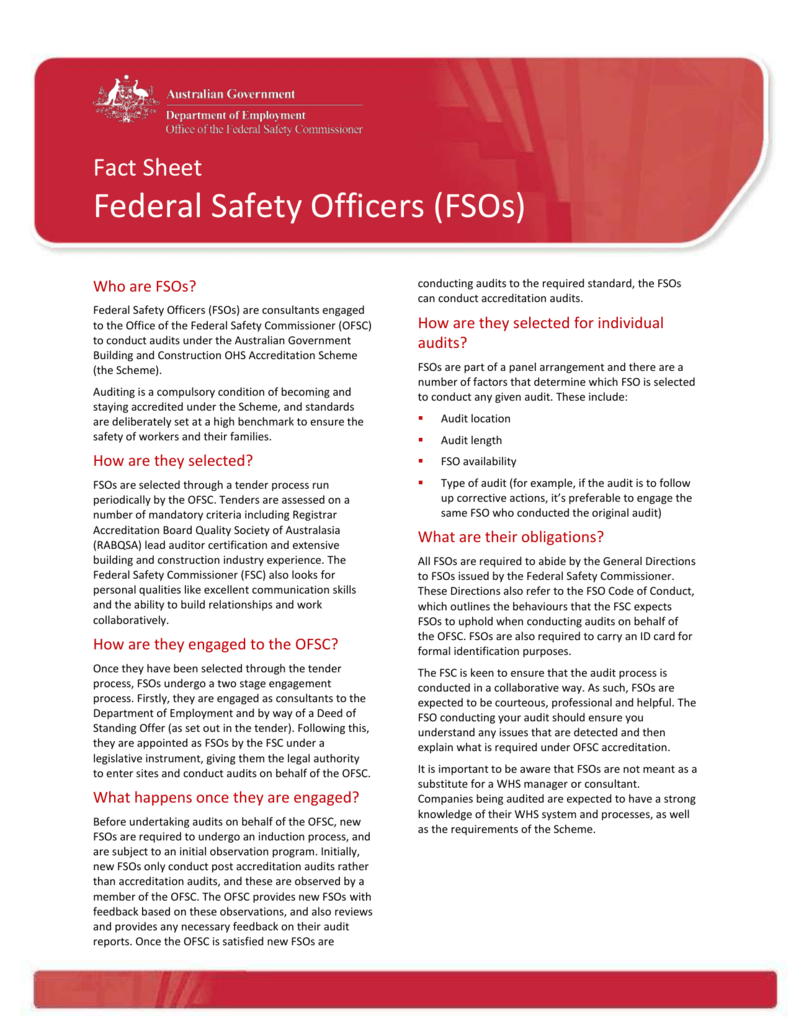 Fact Sheet - Federal Safety Officers (DOCX 157KB)