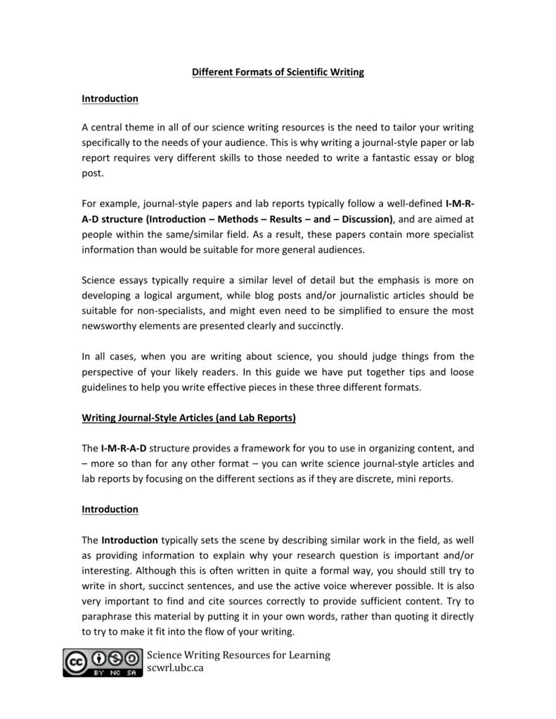 Sample Essays For High School  Essay With Thesis Statement Example also Into The Wild Essay Thesis Different Formats  Science Writing Resources Compare And Contrast Essay Topics For High School Students