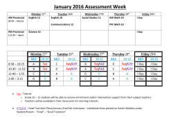 January 2016 Provincial Exam Schedule