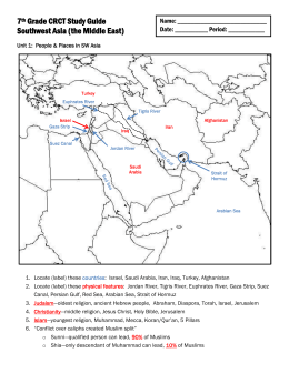 7th Grade CRCT Study Guide – Southwest Asia