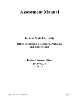 View Assessment Manual - Jackson State University