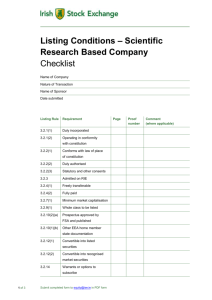 Listing Conditions Scientific Research Based Company Checklist