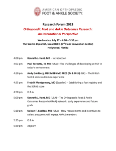 Research Forum 2013 Orthopaedic Foot and Ankle Outcomes