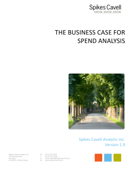the Business Case for Spend Analysis Word document