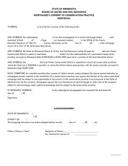 Mortgagee Consent Individual - Minnesota Board of Water and Soil
