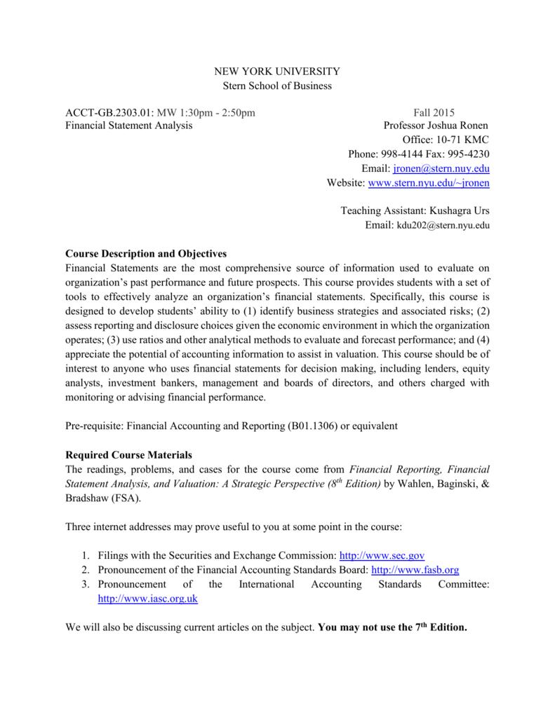 financial statement anal - NYU Stern School of Business