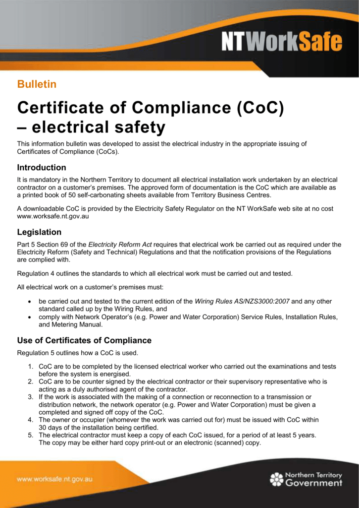 Certificate Of Compliance Coc Electrical Safety