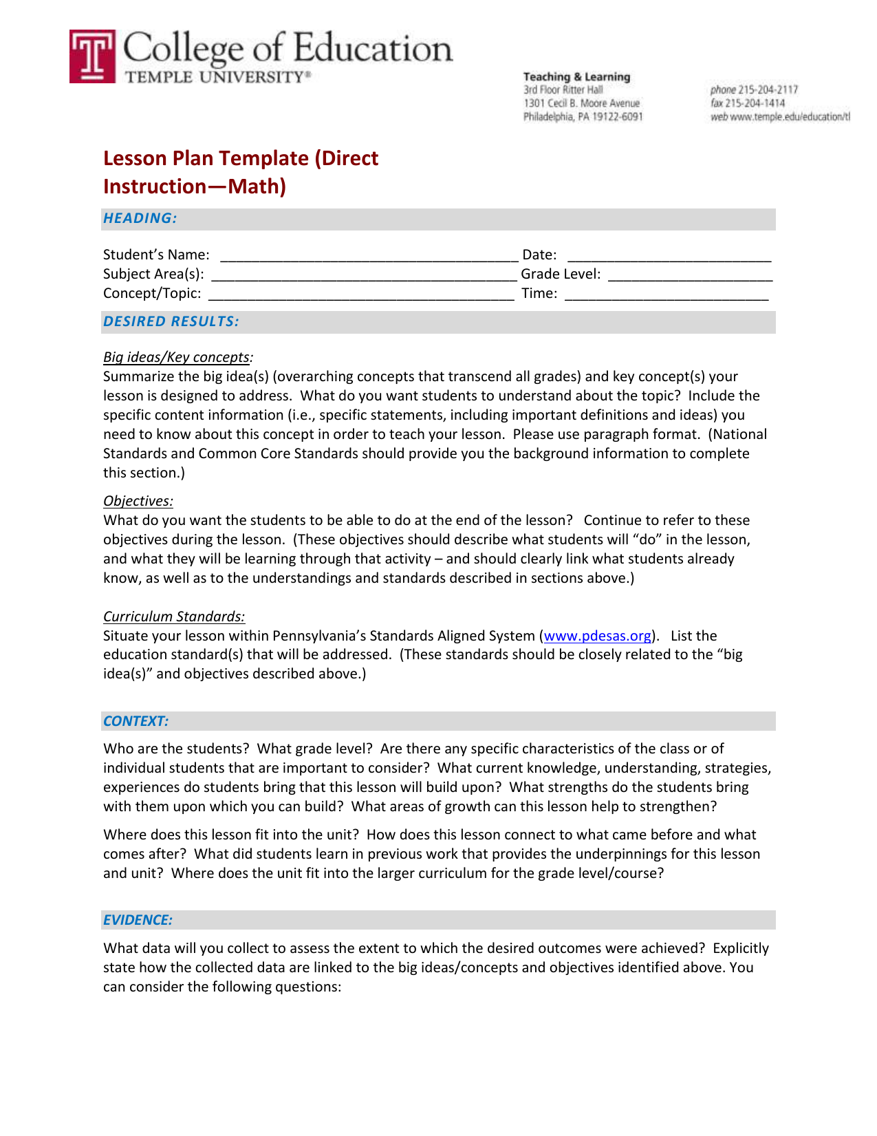 Lesson Plan Template Direct Instruction Math