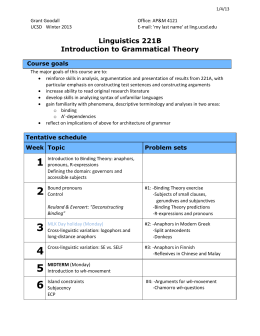 Linguistics 221B Introduction to Grammatical Theory Course goals