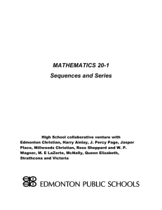 Mathematics 20-1 Sequences and Series