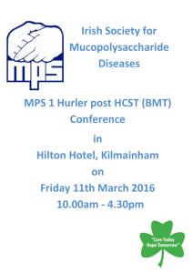 Hurler Post BMT Conference 11 th March 2015 Morning Session