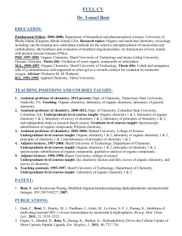 FULL CV Dr. Yousef Beni EDUCATION