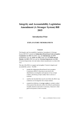 Integrity and Accountability Legislation Amendment (A Stronger