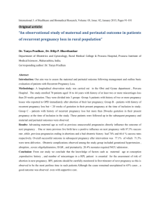 An observational study of maternal and perinatal outcome in
