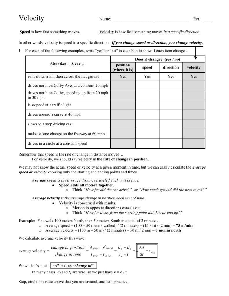 Velocity worksheet - Everett Public Schools