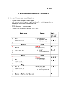 III YEAR 6 semester Business Correspondence 2015