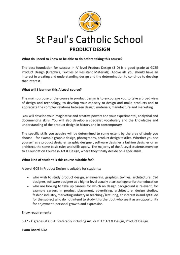 Product Design St Paul S Catholic School
