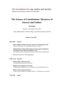 Workshop Programme - The Science of Constitutions