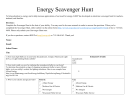 Energy Scavenger Hunt To bring attention to energy and to help