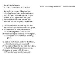 in class essay instructions 1 she walks in beauty like the night