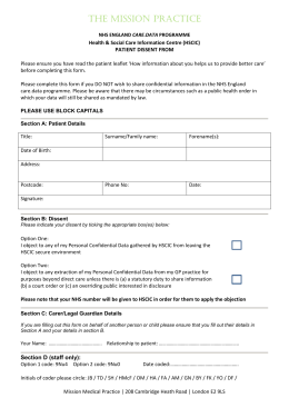 Care Data (HSCIC) OPT OUT form