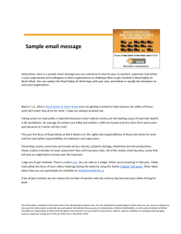 Sample email message - Road Safety At Work