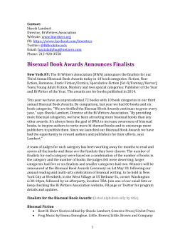 Press Release-Finalists 2014 Books