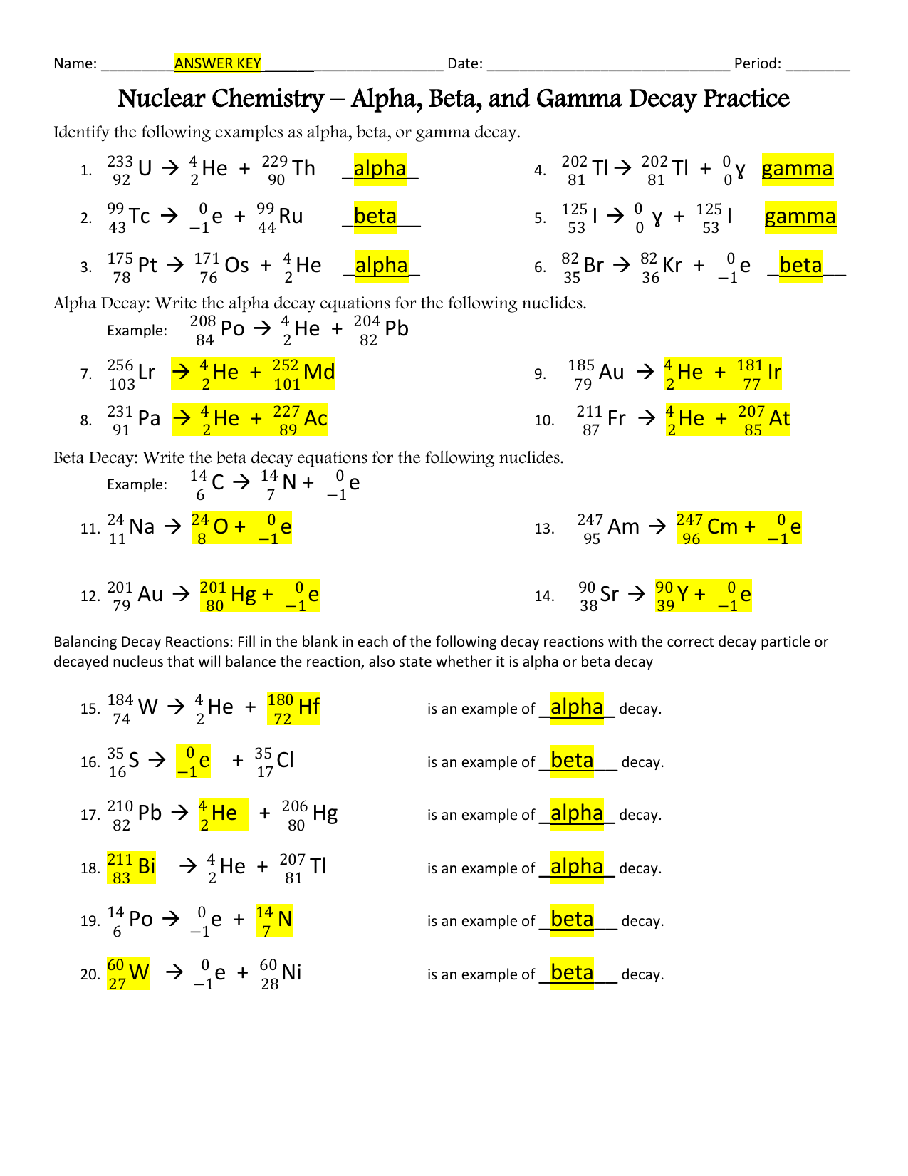 Nuclear Chemistry Practice 1/2 Sheet