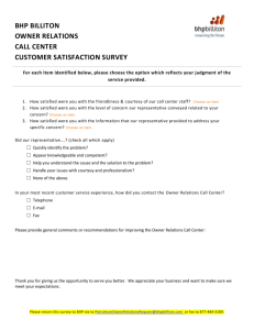Owner Relations, Customer Satisfaction Survey (2015)