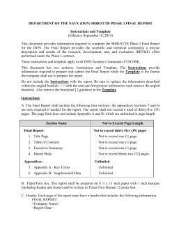 Phase I Final Report Instructions and Template
