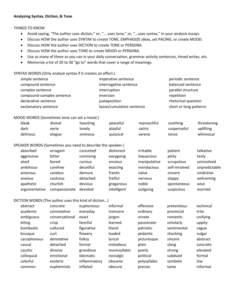 AP Exam Resource: Analyzing Syntax, Diction, & Tone