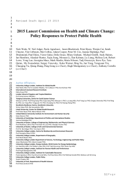 Executive Summary – 2015 Lancet Commission on Health and