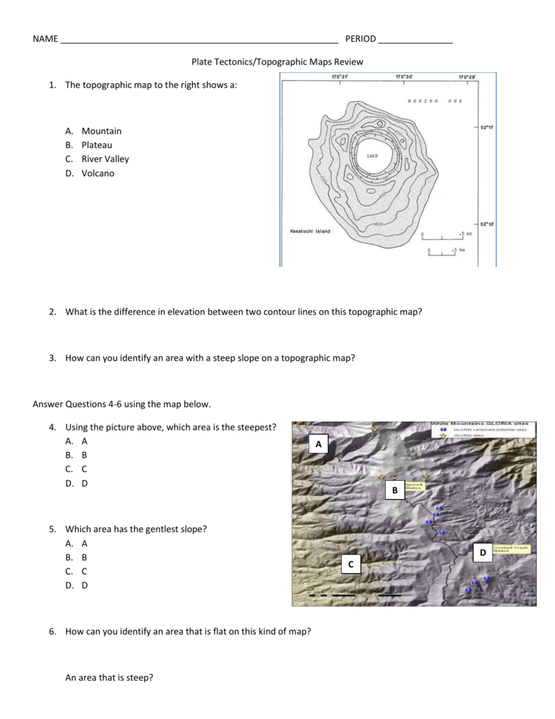 Volcano Topographic Map.Review Plate Tectonics Topography Cba Cms15 16