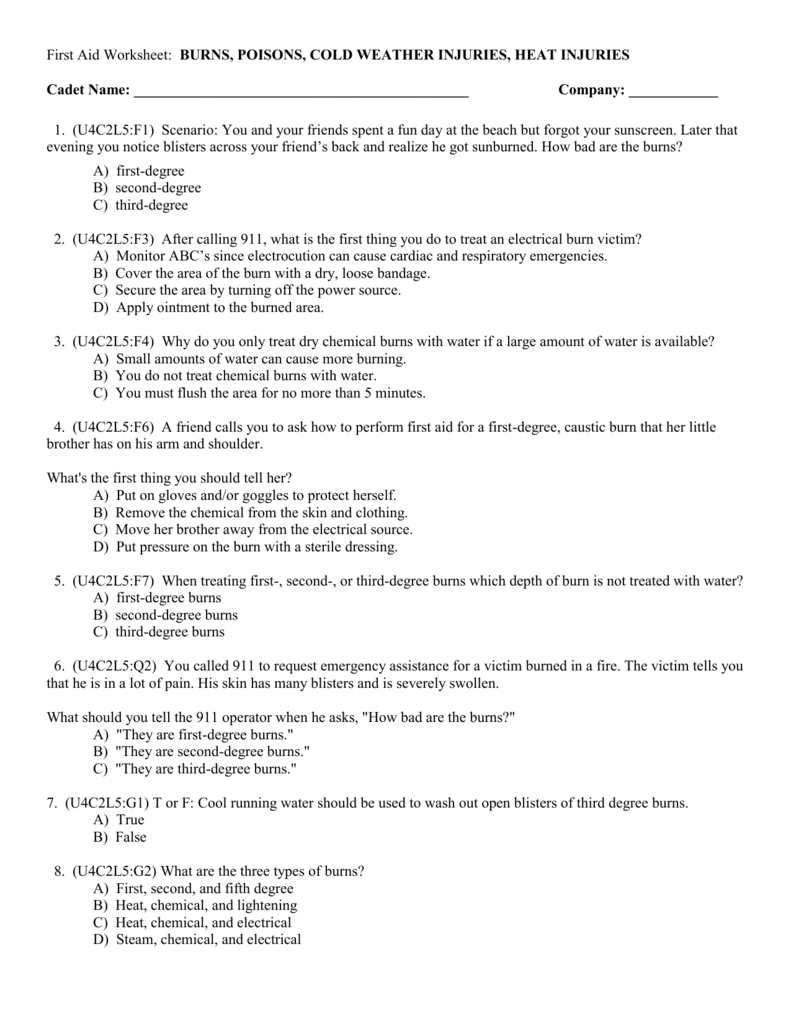First Aid Worksheet: BURNS, POISONS, COLD WEATHER