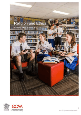 Religion and Ethics Subject Area Syllabus 2014