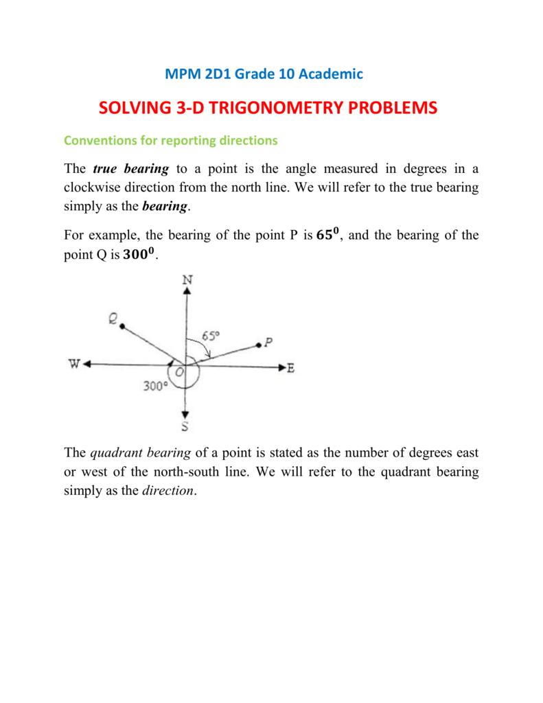 MPM 2D Solving 3-D Trigonometry Problems