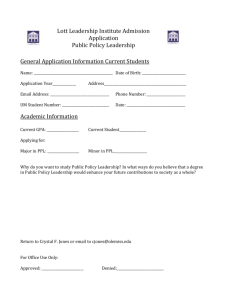 Lott Leadership Institute Admission Application