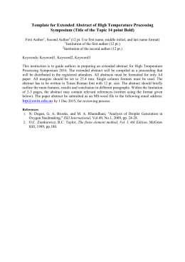 Template for Abstract of High Temperature Processing Seminar