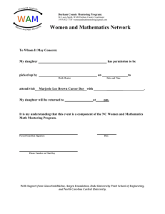 DPS Permission Form - Women And Mathematics Mentoring Program