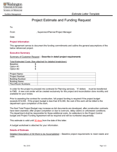 Estimate Letter Template - Facilities Management Department