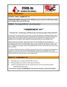 "VALUE: ""COMMITMENT"" ACTIVITY / TOPIC: ""COMMITENT 101"