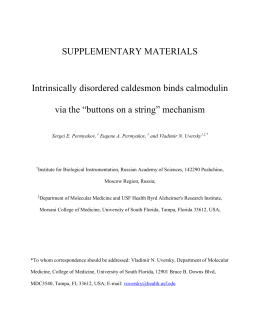 SUPPLEMENTARY MATERIALS Intrinsically disordered caldesmon